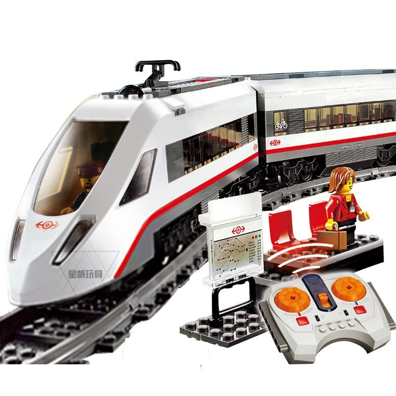 02010 LEPIN City Trains High-speed Passenger Train Model Building Blocks Enlighten DIY Figure Toys For Children Compatible Legoe