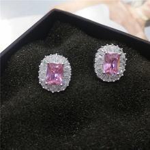 Простые Свадебные серьги гвоздики для женщин с розовым кубическим
