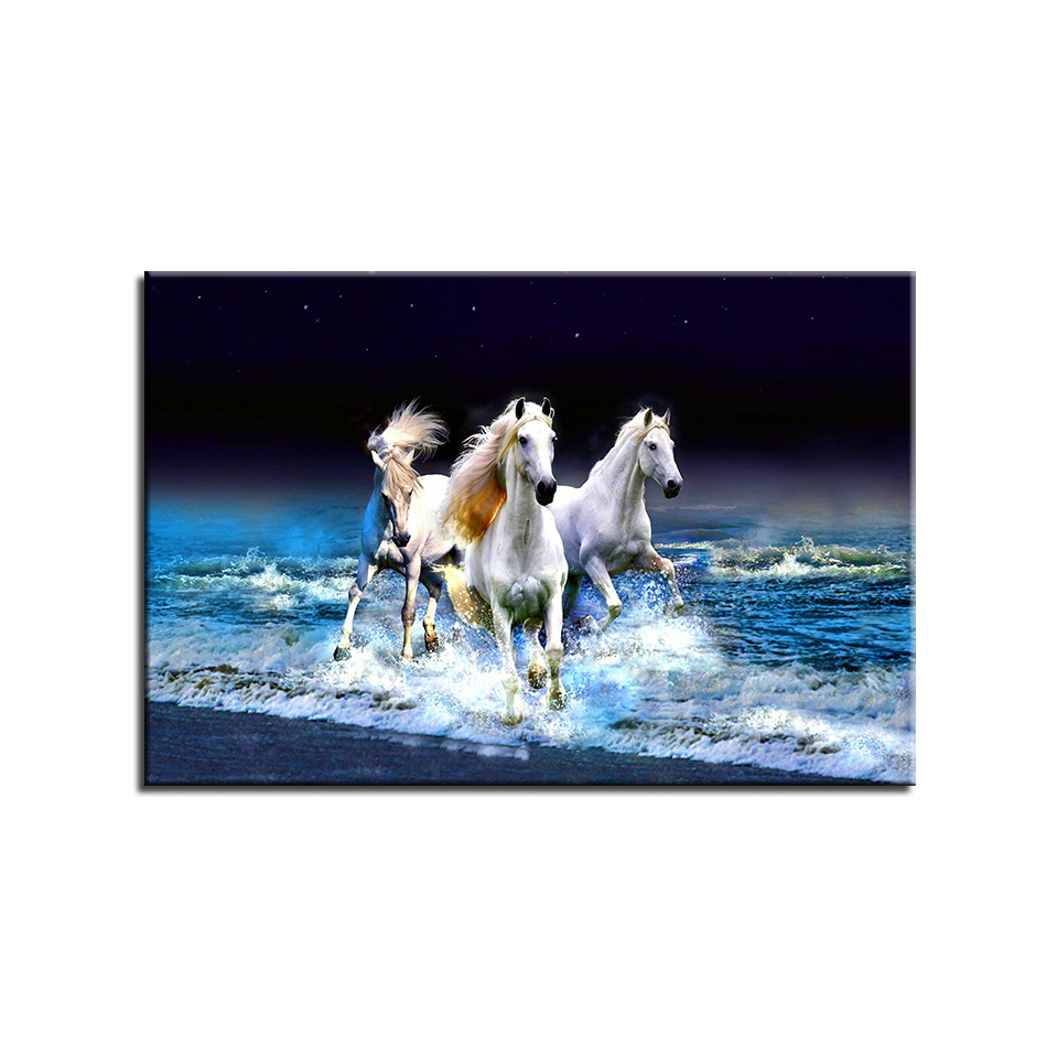 Frame Living Room Wall Art Pictures HD Printed 1 Panel White Horses Running Modern Painting On Canvas Home Decoration Posters