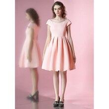 FREE SHIPPING 2016 Spring Summer New Vintage Sweet  V Neck Short Sleeve Vestidos Pink Slim Bridesmaid Pleated Tutu Dress Women