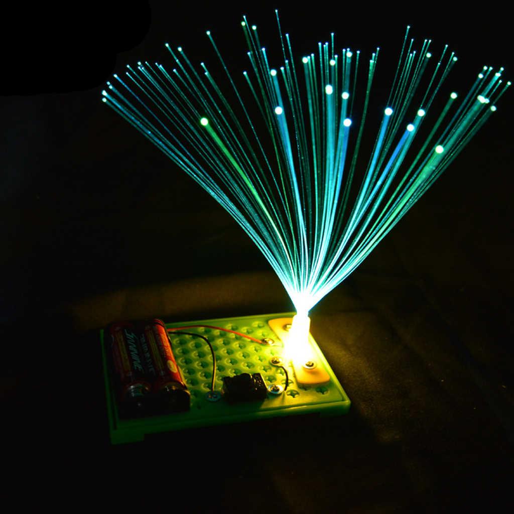 Anak-anak Ilmu Percobaan Kit-DIY Listrik Elektrostatik Salju dan Berwarna-warni Fiber Optic Lampu Model Mainan Kreatif Mainan