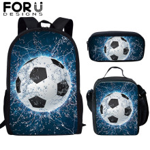 FORUDESIGNS 3 Pcs/set Kids School Bags 3D Ice Soccerly/Foot Ball Pattern Backpack Schoolbag For Teen Boys Girls Bookbags Mochila