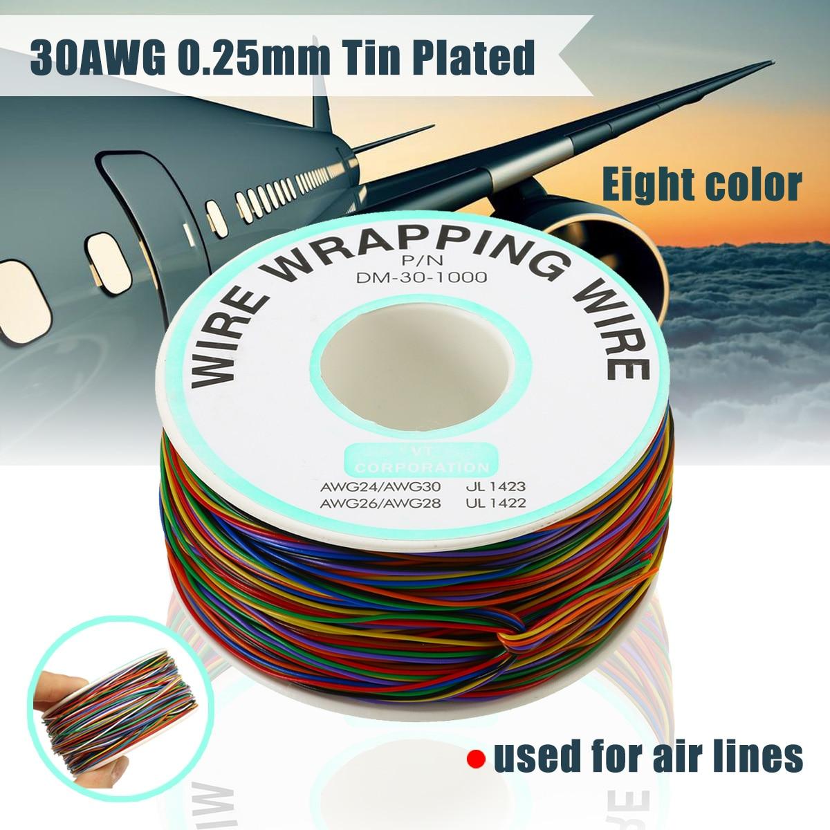 1 рулон упаковочной проволоки 30AWG 0,25 мм Оловянно-покрытый медный провод, изоляционный соединительный кабель, 8 цветов, электрическая проводк...
