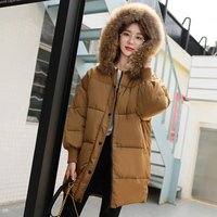 New Fashion Women Casual Loose Parkas Solid Color Thickening Fur Collar Hooded Students Cotton Womens Korean