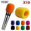 +Cheap Sale+Free Shipping+ Handheld wireless microphone Windscreen Foam Cover Karaoke DJ Sales Orange Yellow 10Pcs/lot EN9976