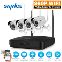 SANNCE Full HD 960P 4CH Wireless NVR CCTV System IP Camera 2MP WI FI Waterproof IR