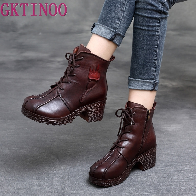 1107d7c1bf0 US $67.47 50% OFF|GKTINOO Genuine Leather Boots Women Soft 2019 Autumn  Fashion Shoes Woman Square High Heels Boots for Women's Shoes Boots-in  Ankle ...