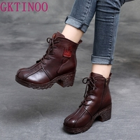 GKTINOO Genuine Leather Boots Women Soft 2019 Autumn Fashion Shoes Woman Square High Heels Boots for Women's Shoes Boots
