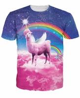 New Fashion Rainbow Llamacorn T Shirts Harajuku Space Galaxy Rainbow Shirts Casual 3D T Shirts Hip