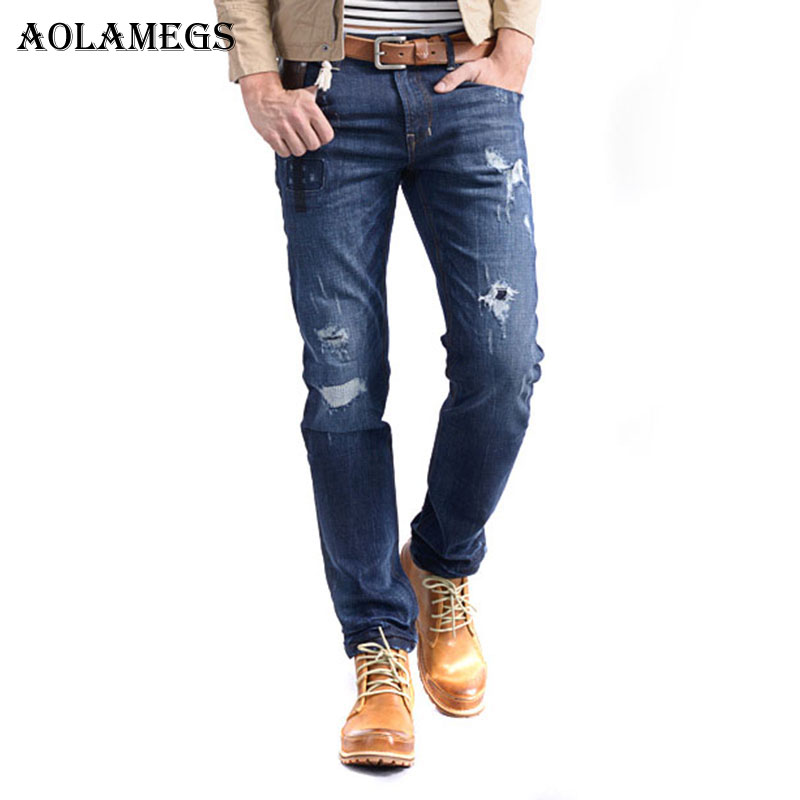 Aolamegs Men Denim Pants Men Slim Stretch Jeans Pants Homme Ripped Hole Patch Washed Boys Denim Trousers New Jeans Brand Bottoms