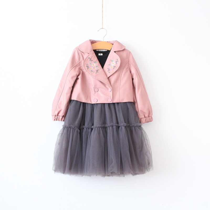 2 pcs Girls PU embroidered short jacket + mesh tunic dress striped tunic floral embroidered shirt