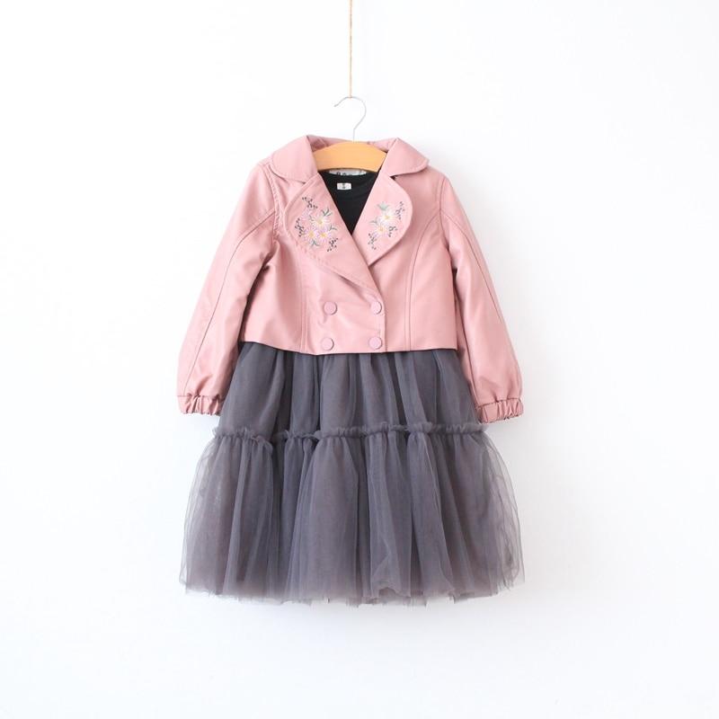 2 pcs Girls PU embroidered short jacket + mesh tunic dress flounce sleeve embroidered mesh dress