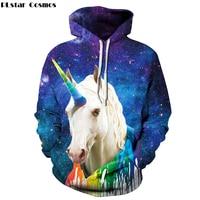 PLstar Cosmos Galaxy Rainbow Unicorn Hoodies Womens Mens Sweatshirt Hip Hop Print 3d Hoody Pullover Streetwear