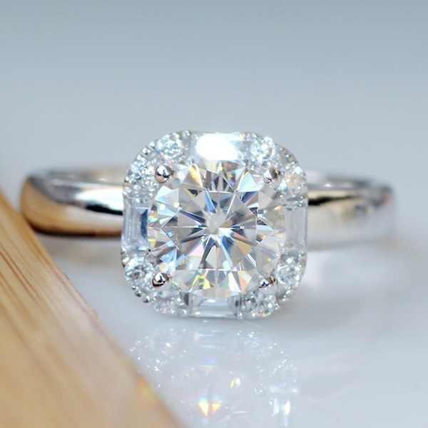 1 กะรัต Cubic Zircon CZ Diamant แหวนแท้ 925 anillos เงิน SolitaireNight Club Tiaodi กระพริบ 925 แหวน