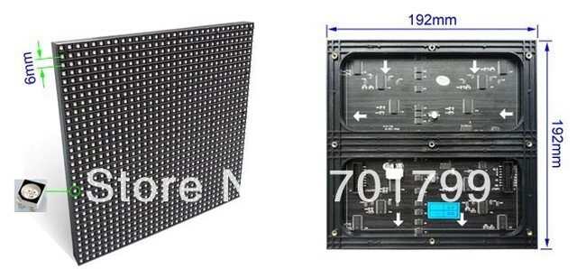 P6 rgb SMD full color indoor LED module; screen unit board,32*32pixels,192mm*192mm
