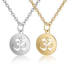 100% Stainless Steel OM Symbol Charm Necklace Never Tarnish Steel High Polished Yoga Om Pendant Women Necklaces(China)