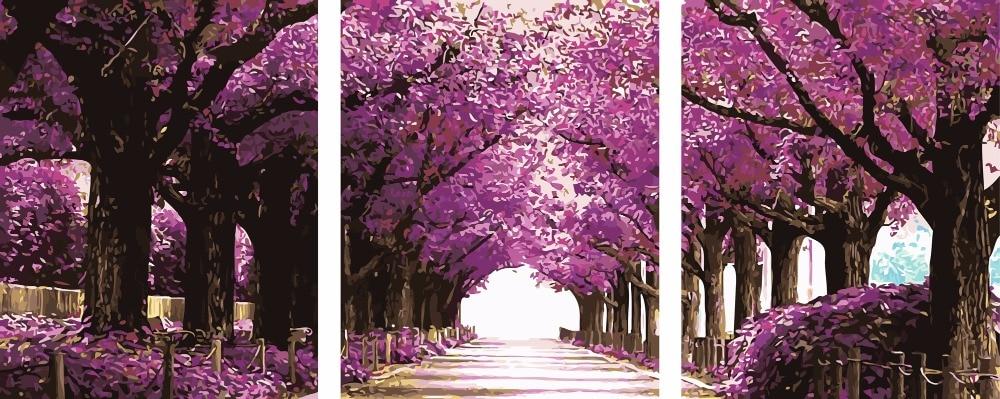 3 pièce sans cadre photo sur mur acrylique peinture à l'huile par numéros décor à la maison peinture à la main coloriage par numéros arbres violets route