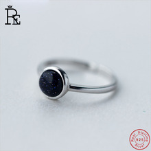 RE 100% Real S925 Sterling Silver Ring Resizable Black Stone Wedding Engagement Finger Knuckle Rings for Women Female
