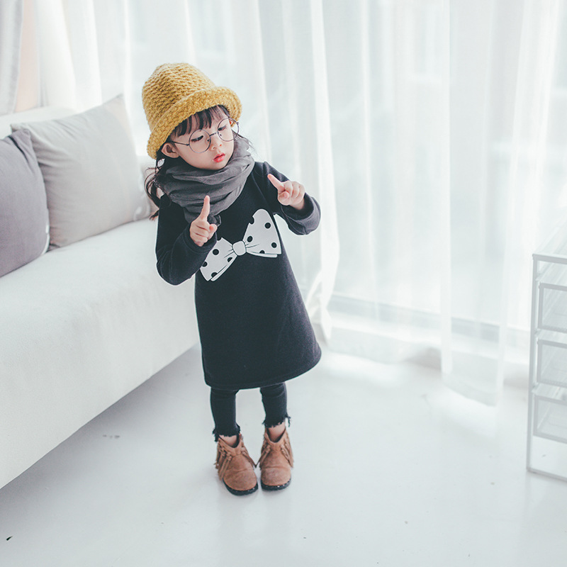 2017 New Spring and Autumn Winter Baby Dresses Girl Dresses Princess Dresses Bowknot Prints Thicker Not Down Childrens Dresses