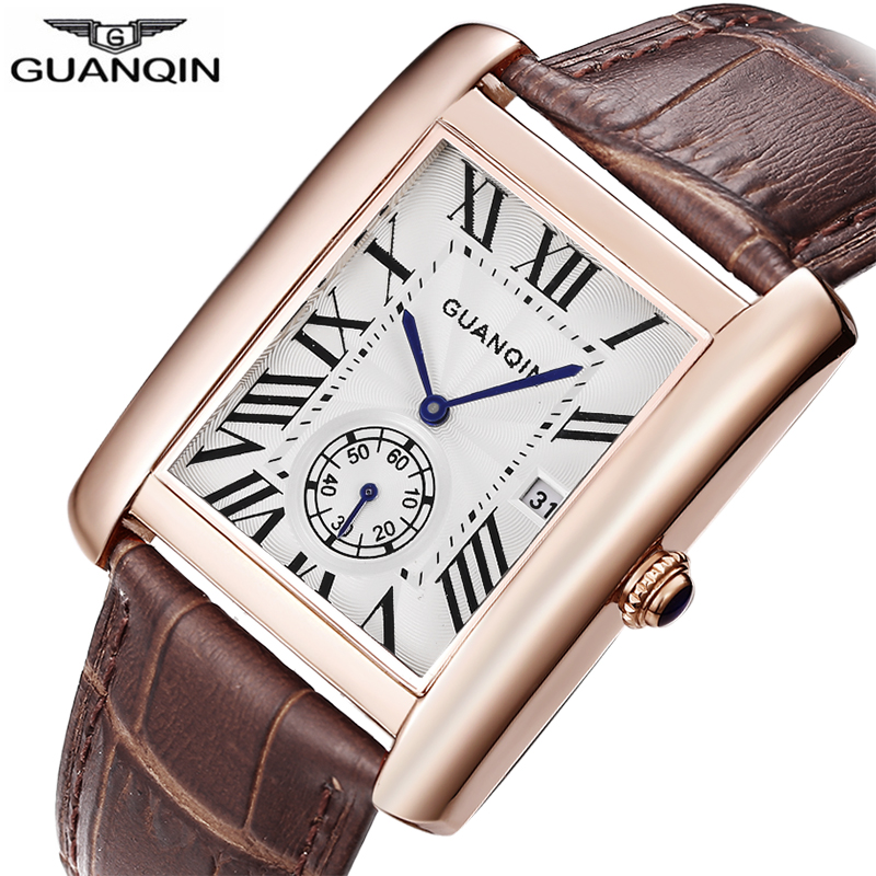 GUANQIN Top Brand 2018 New Square Watch Men Quartz Men's Watches Luxury Genuine Leather Waterproof Kol Saati Relogio Masculino