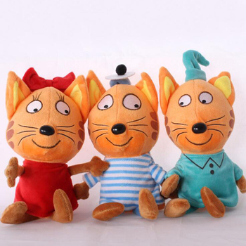 1 piece sweet artificial real fur made cats toy sleep baby kat kittens pussy cat doll decorations birthday gift for child girls Russian Cartoon Three Kittens Happy Kittens Cat Stuffed Plush Toys Soft Animals Cat Toy Doll For Kid Children Christmas Gift