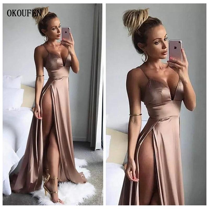 New Sexy Prom Dresses 2019 High Side Split Spaghetti Straps Simple Ball Party Gowns Vestido De Fiesta Robe De Soiree Gala Jurken