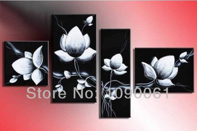 HandPainted Abstract Flower Oil Painting Modern Black And White