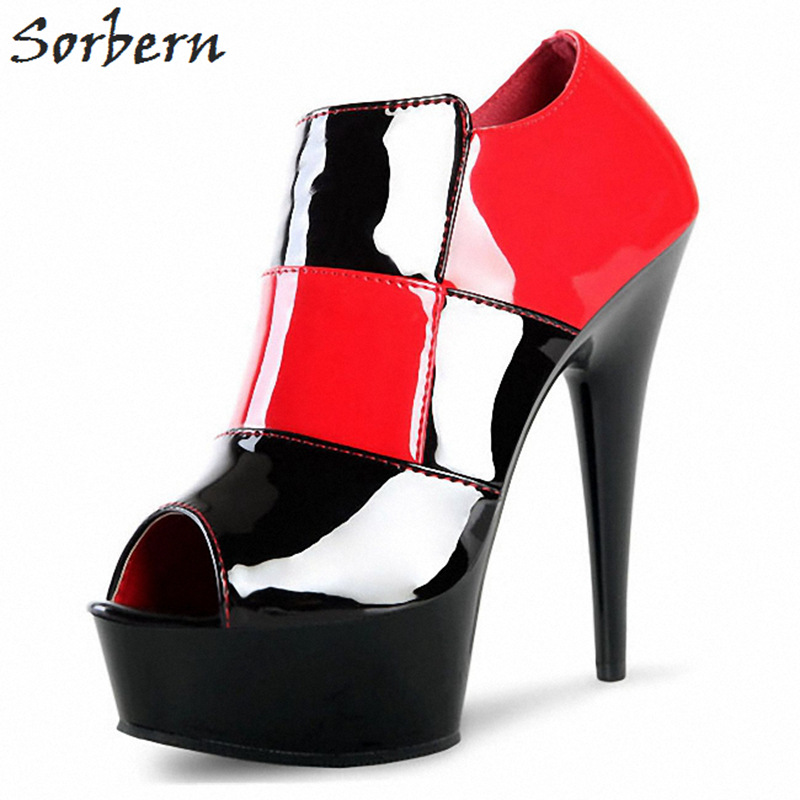 Sorbern Lattice Open Toe Ankle Boots For Women Spike High Heels Platform Boots Patent Leather Shoes Women Gothic Runway Shoes