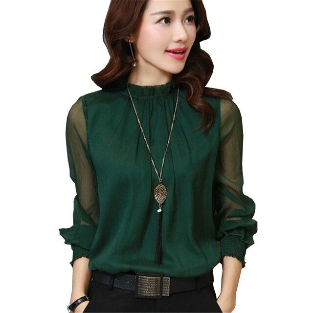 0312f35f8b663 2017 Fashion Spring Autumn Chiffon Blouse New Korean Casual Ruffle Collar Shirt  Long Sleeve Women Shirts Tops Plus Size Blusas