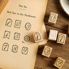 цена на 10 pcs/set Vintage number plate wood stamp decoration wooden rubber stamps for scrapbooking stationery DIY craft standard stamp