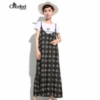 Plus size women clothing 2017 summer new products beachwear Brand ladies Loose Sleeve Sling Printed straight dress WXTCWT0089