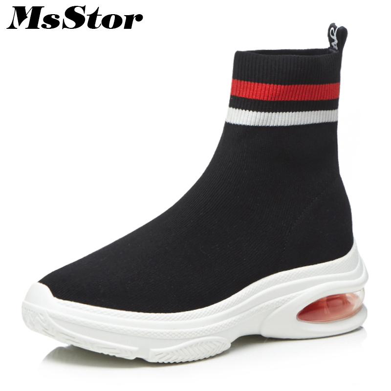 MsStor Round Toe Platform Women Boots Fashion Elegant Mixed Colors Ankle Boots Women Winter Shoes Knitting Boots Shoes For Woman комод пеленальный giovanni shapito leo jungle