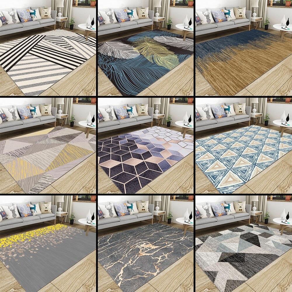 Nordique salon géométrique tapis Super flanelle Point en plastique anti-dérapant zone tapis hiver chaud épais décor chambre tapis tapis - 6