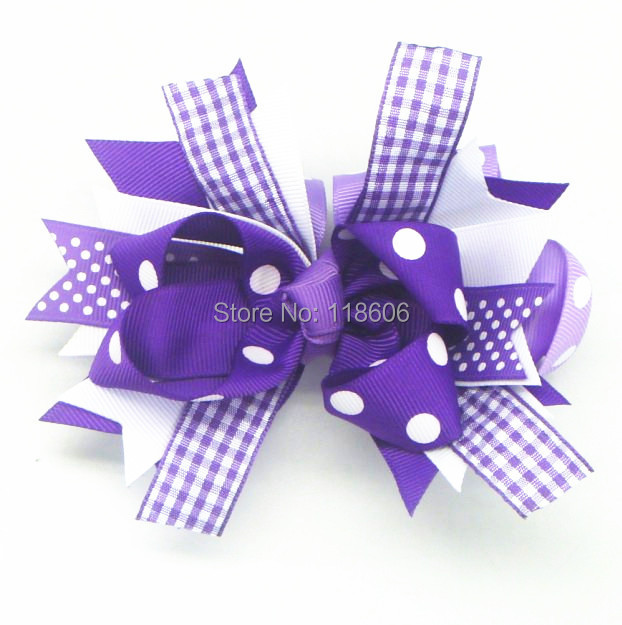 Wholesale 100pcs/lot Plaid Purple Ribbon Kawaii Cute Hair Bow Clip Free Shipping