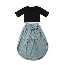 Одежда для детей; малышей; девочек одежда принцессы комплекты топы и шорты юбка Повседневное из хлопка с Бантом Летняя одежда Костюмы девушка От 6 месяцев до 5 лет