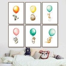 Mouse Koala Hedgehog canguro Balloon Nordic Poster E Stampe di Arte Della Parete della Tela di Canapa Pittura Della Parete di Foto Del Bambino Della Ragazza boy Room Decor