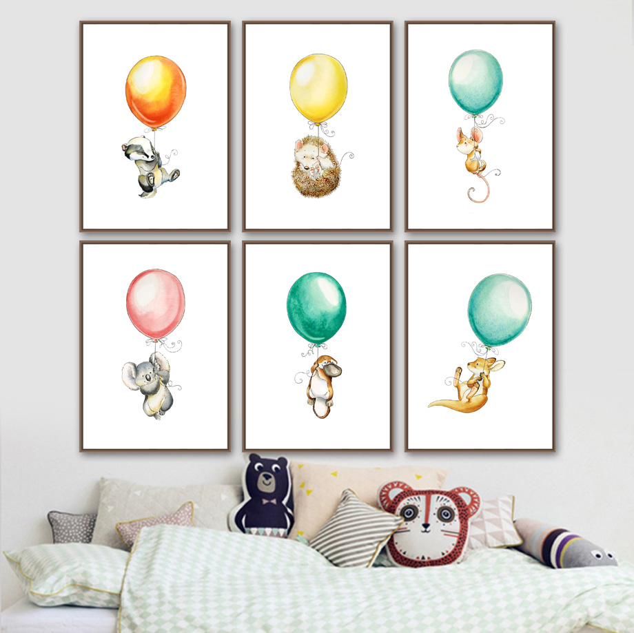 Mouse Koala Hedgehog kangaroo Balloon Nordic Posters And Prints Wall Art Canvas Painting Wall Pictures Baby Girl boy Room Decor-in Painting & Calligraphy from Home & Garden
