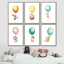 Mouse Koala Hedgehog kangaroo Balloon Nordic Posters And Prints Wall Art Canvas Painting Wall Pictures Baby Girl boy Room Decor