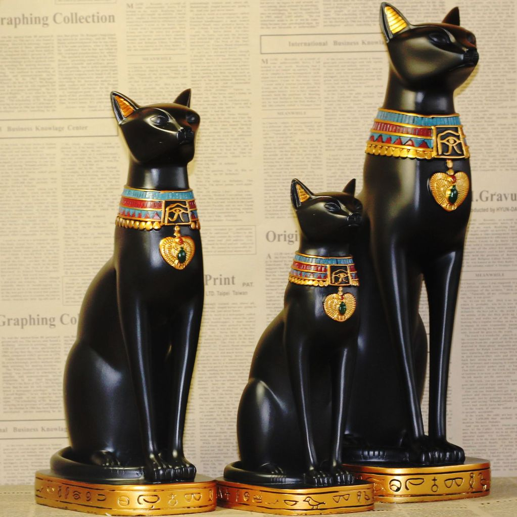 3 options, Egypt Style Moon Goddess Incarnation Cat God Figurine Resin Decor Collectible Cat Figurine