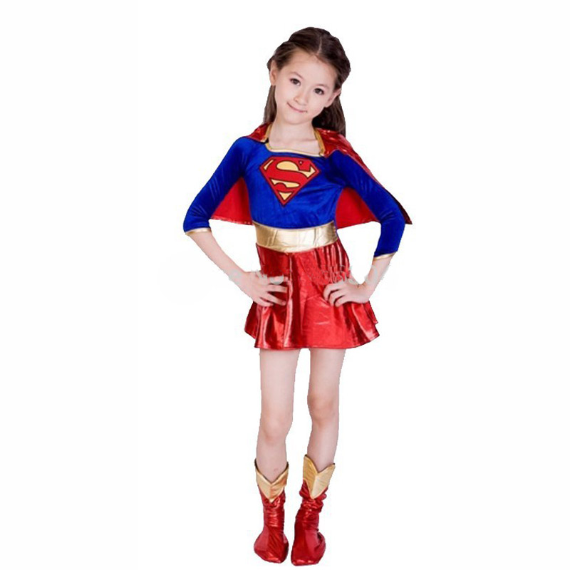Kid children superman costume super girl dress Halloween cosplay party super hero costume cape boots