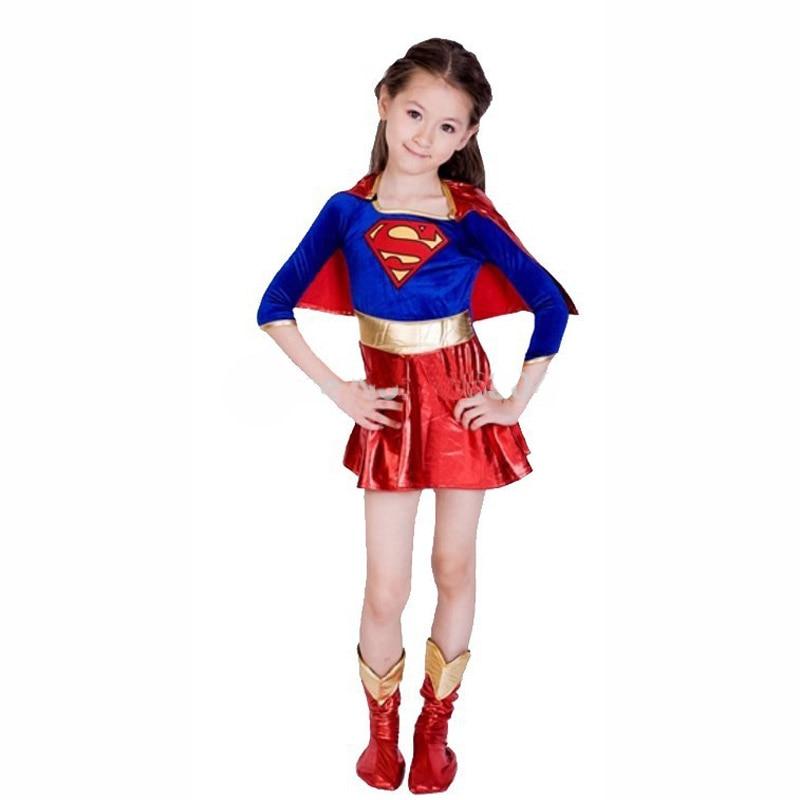 Kid children superman costume super girl dress Halloween cosplay party super hero costume cape boots