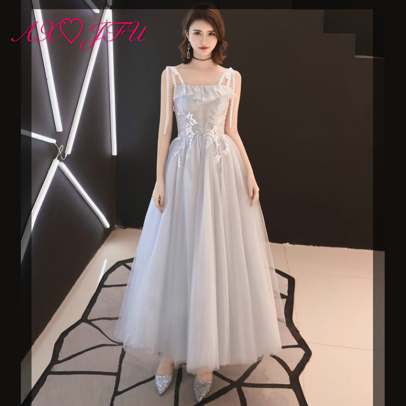 AXJFU Luxury princess navy grey lace bow   evening     dress   vintage champagne lace beach lake blue lace   evening     dress   100% real photo