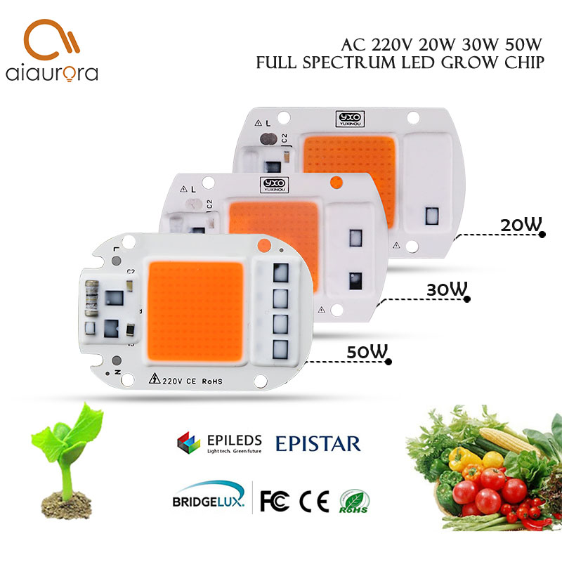 Led Grow Light Chip 20W 30W 50W 220V 230V Full Spectrum 380nm~780nm Best For Hydroponics Greenhouse Grow DIY For LED Growth Lamp