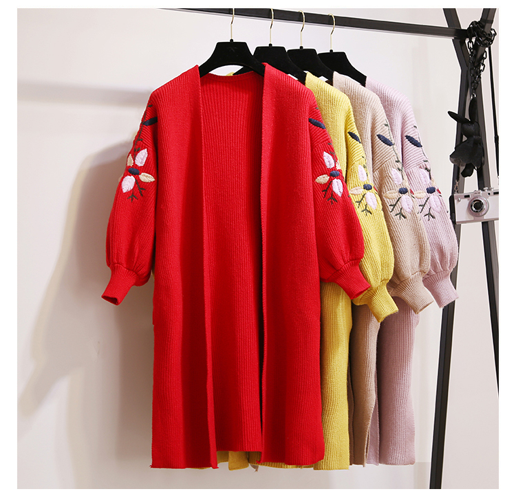 Women Fashion Embroidered Lantern Sleeve Cardigan Autumn New Long Knitted Female Tops Loose Black Color Casual Female sweaters