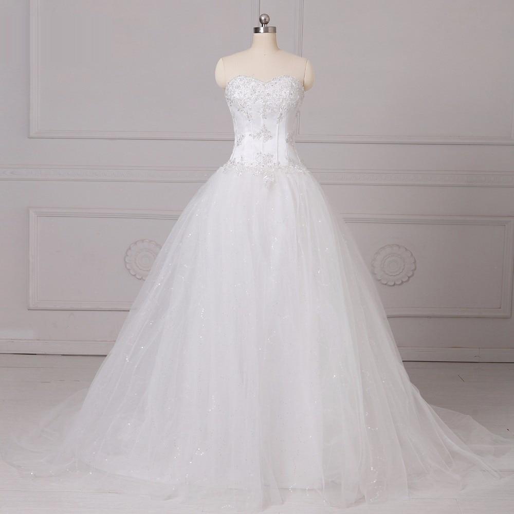 c460634e44fa ADLN Classic Stock Sweetheart A-line Corset Wedding Dresses Appliqued White/Ivory  Tulle Plus