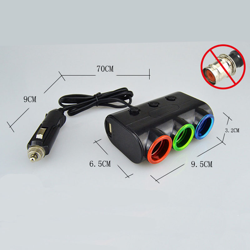 3 Way Socket Independent Switch Car Cigarette Lighter Splitter 2 USB