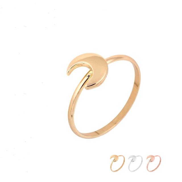 Online Shop Wholesale 10pcsLot Thick Half Moon Rings Gold Silver