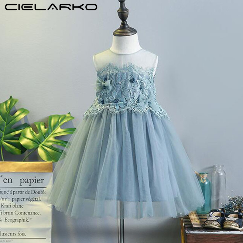 Cielarko Summer Girls Dress Formal 2018 Baby Birthday Dresses Fashion Princess Kids Tulle Clothes Children Frock 2-10 Years Girl spring summer 2018 children girl clothes sequined top red sky blue purple princess formal girls hot pink dresses tulle bow