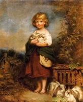 100%Handmade Oil painting richard buckner the pet rabbit young girl with animals landscape