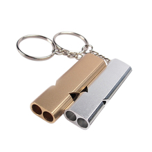 1pc Whistle Keychain Outdoor Survival Whistle Double Pipe High Decibel Outdoor Emergency Whistle Keychains Gold Silver Color цены
